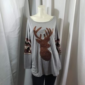 Festive Sequin Deer Loose Fit Top Size XL